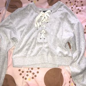 Grey fluffy crop too with a hoodie